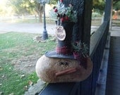 pRiMiTiVe Winter ChRiStMaS SnOwMaN sHeLfSiTTeR mAntLe DoLL Happy Holidays  FAAP