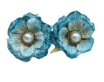 Blue Flower Barrette, Flower Hair Clip, Hair Barrette, Flower Hairclip, French Barrette, Something Blue, Pin Up Hair Accessory