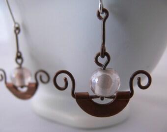 Copper earrings, Silver earrings, Dangle earrings, Long earrings, Rustic earrings, Copper wire earrings, Ornate wire earrings, Gift idea.