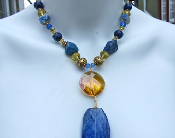 Big Bold Chunky Statement Necklace, Lapis Necklace, Blue Stone Necklace, Raw Natural Stone, Y Necklace, Big Crystal, Sparkly  858