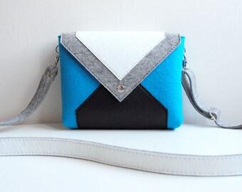 Blue Gray White Black Wool Felt Genuine Leather Messenger Crossbody Bag