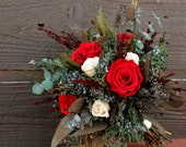 Rustic Valentines Winter Red Rose Wedding Bouquet, Winter Wedding Bridal Bouquet, Red  and Cream Rose Brides Bouquet with Fragrant Foliage