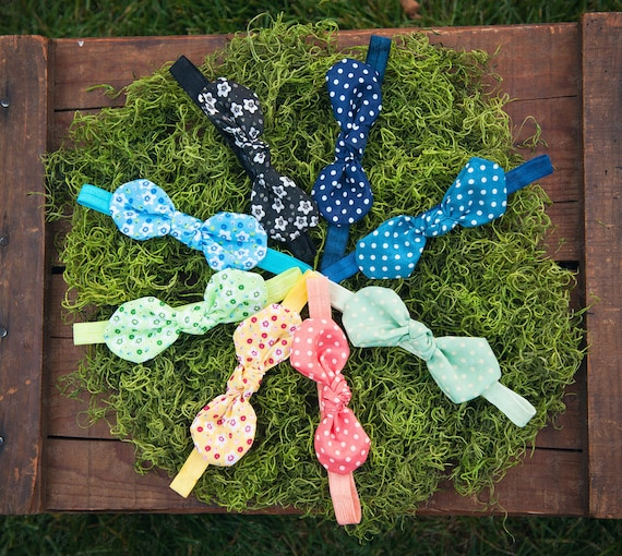 Ema Jane Patterned Jubilee Fabric Bow Knots on Iridescent Headbands Set (9 Bow Knot headbands)