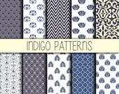 Indigo Blue - Instant Download - Set of 10 - 12x12 inch - Digital Paper Pack - Scrapbooking, Web design, Card making