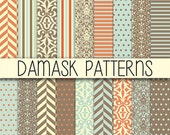 Instant Download - Brown, Blue and Orange - Damask, Chevron - Mega Paper pack - Set of 20 Digital Scrapbook Paper - 12 x 12 inches