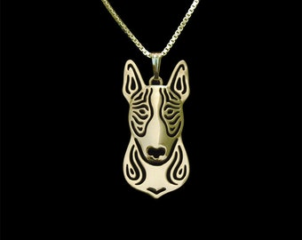Bull terrier - Gold pendant and necklace