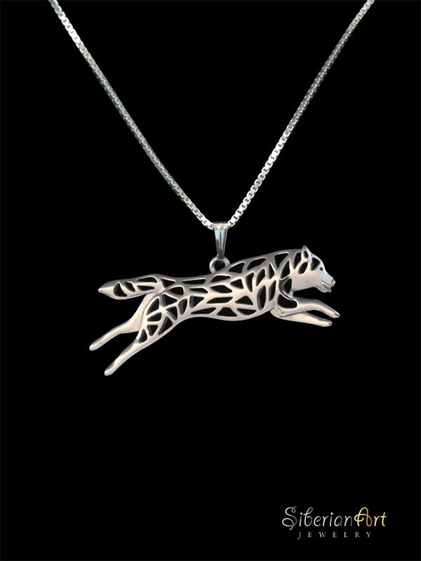 leaping siberian husky sterling silver pendant and necklace