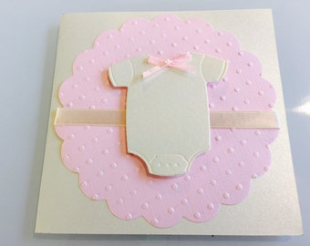 Customize Any Color, 10 Onesie Baby Shower Invitation, Thank You, or New Baby Announcement Cards, Baby Girl Pink