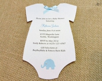 25 Baby Elephant  Baby Shower Invites, Baby Onesie Shower Invitations, Baby Onesie, Elegant Pearl, Baby Onesie Card, Customize Your Color