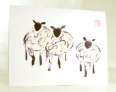Three Sheep Blank A2 Notecard Set from Original Ink Painting