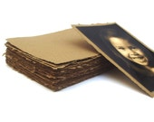 Handmade Kraft paper, recycled, deckle edge, 10 sheets, 4.5 x 6.5 inch