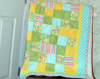 Flowers and stripes in Aqua, Yellow,Pink, and Green Baby Quilt 36 by 42