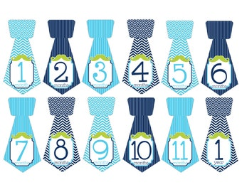 Set of 12 Tie Shape Monthly Milestones Stickers with Mustache in Aqua, Navy and Lime Green Keepsakes for Baby Boys T028
