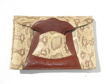 1940s deco clutch - genuine python and leather clutch - 1940s python clutch - 1940s python handbag - 40s deco bag - vintage evening bag