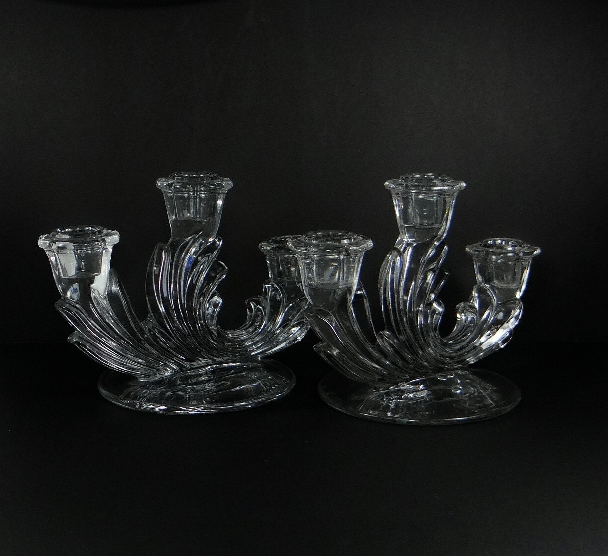 Baroque fostoria candlesticks depression glass 3 lite for Clear baroque glass