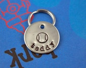 SMALL Dog or Cat Tag - Handstamped Pet Tag - Personalized - Tennis Ball