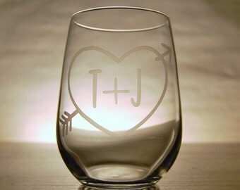 Personalized Heart and Initials Stemeless Wine Glasses - Set of 2