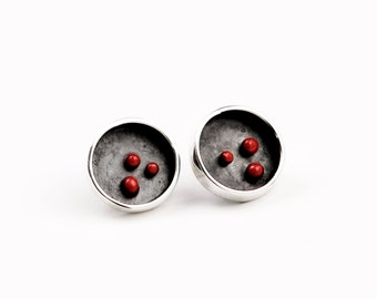 Earrings Silver 925\red points