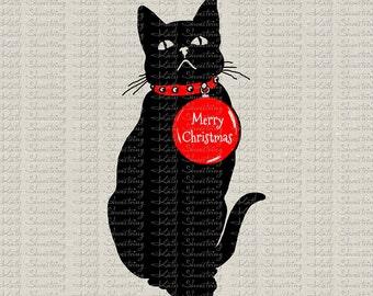 Christmas Cat Digital Image Download Fabric Transfer Clip Art Holiday Tags Banners Totes Burlap T Shirt Pillows Printables