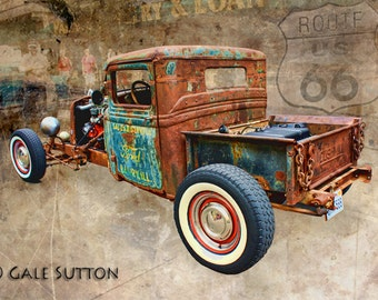 Rat Rod - Hot Rod - Classic Car Art - Old Ford Rat Rod - Fine Art Metallic Photo - Gift for Men - Man Cave Art- Rt 66 - Wall Art - Guy Decor