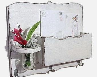 Large Mail Organizer, shabby chic, floral vase, mail holder, key hooks, mail holder, distressed, vintage, home decor,painted vintage white