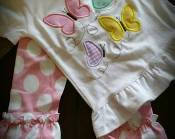 Butterflies! Baby, Toddler and Girls Easter or Spring Outfit- pick your favorite color pants!