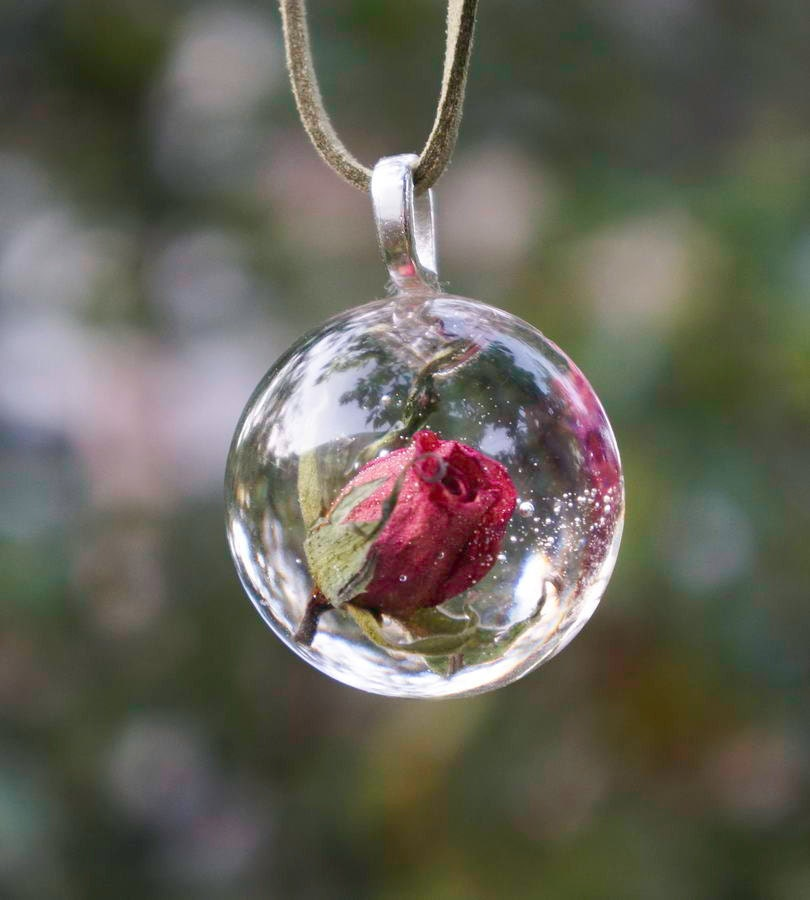 Real Rose Necklace Romantic Real Roses Flower Hemisphere
