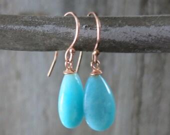 Aqua Amazonite Teardrop Earrings rose gold , stunning beachy Blue amazonite dangle drop earrings,Teardrop earrings,Beachy boho hippie style