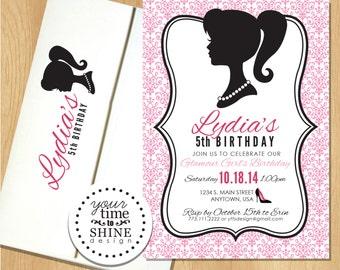 Glamour Girl Birthday Invitations with Envelopes