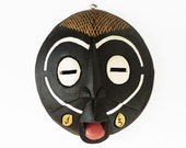 Hand Carved Tribal Wood Mask / Black Wall Hanging