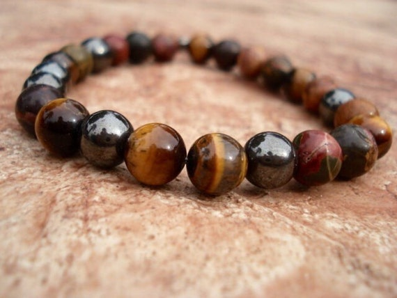 Men's Tiger Eye Bracelet, Hematite Bracelet, Red Jasper Bracelet, Gemstone Bracelet, Beaded Bracelet, Stretch Bracelet, Stackable Bracelet