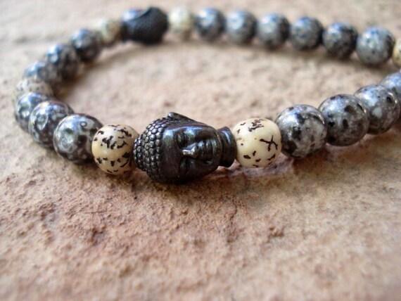 Buddha Bracelet, Mens Bracelet, Women's Bracelet, Yoga Bracelet, Spiritual Bracelet, Glass Beaded Bracelet, Stretch Bracelet, Zen Jewelry
