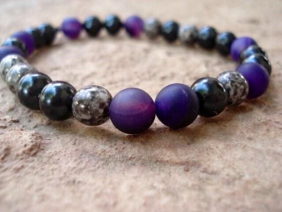 Amethyst Agate Bracelet, Purple Bracelet, Mens Bracelet, Women's Bracelet Modern Bracelet, Minimalist Bracelet, Stackable Bracelets