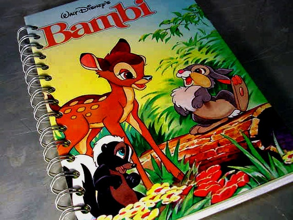 JOURNAL  BAMBI Walt Disney RECYCLED Upcycled Altered