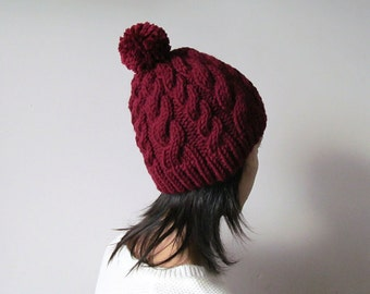 Chunky Cable Knit Hat in Burgundy, Beanie with Pom Pom, Womens Knit Hat, Wool Blend, Winter Accessories, Seamless, For Her, Made to Order