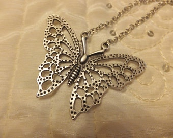 Antique Silver brass Butterfly Necklace, Lovely Necklace, Boho Jewelry, Pendant Necklace, Fashion, Big Pendant Necklace, Gift For Her