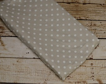 Ready to ship-Changing Pad Cover in tan polka dot fabric-30% off regular price