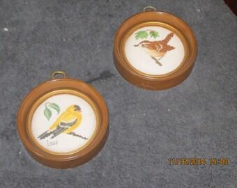 Pair of Birds Cross Stitch Wall Decor