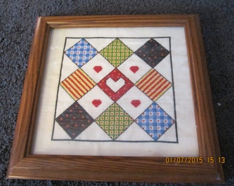 Quilt Squares with Heart Cross Stitch Picture