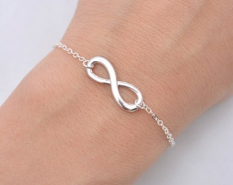 Set of 7 Infinity Bracelets, 7 Bridesmaid Infinity Bracelets, Silver Infinity Bracelets, Bridesmaid Gifts - Sterling Silver Chain  0196