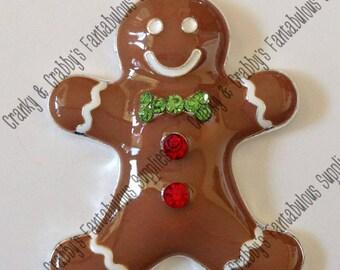 Gingerbread Man Pendant Enamel with Rhinestones -  49mm x 36mm -  Christmas Pendant XMAS