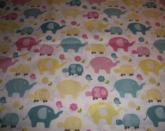 Elephants, pastel colors on white  cotton fitted crib/toddler sheet
