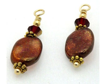 Red & Gold Twist Charm Set - Bead Dangles - 2, 4, or 6 - Swarovski Accent Beads