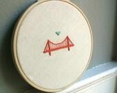 "5"" Embroidery Hoop Art - Golden Gate Bridge - SF - Home Decor - Wall Art - Housewarming Gift- *Free Shipping!"