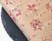 Shabby Chic Oatmeal, Pink Floral Print Fabric 100 Percent Cotton Half Metre