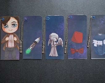 Doctor who 11 - laminated bookmark with sonic screwdriver charm