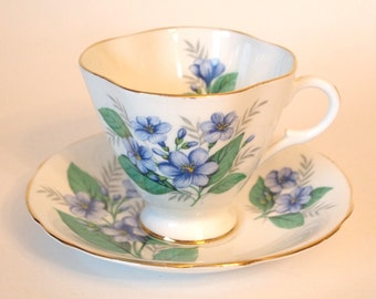 Vintage Teacup Set Windsor English Fine Bone China Tea Cup and Saucer with Blue and Green Flowers Forget Me Nots  - England Afternoon Tea