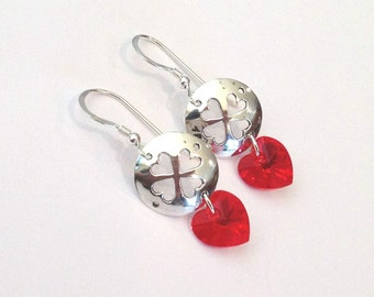 Heart Clover Sterling Silver and Swarovski Crystal Earrings, Red Heart Crystals
