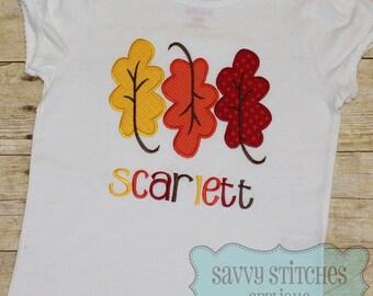 Leaf Trio Machine Embroidery Applique Design