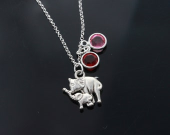 Personalized Mom and Baby Elephant Necklace on Sterling Silver chain, your Birthstone Elephant Necklace, Mother and Baby Elephant Necklace